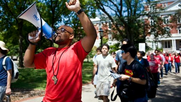 """Aug. 26, 2015: A """"day of action"""" demonstration to draw attention to graduate students' demands in front of Jesse Hall on the Mizzou campus in Columbia."""