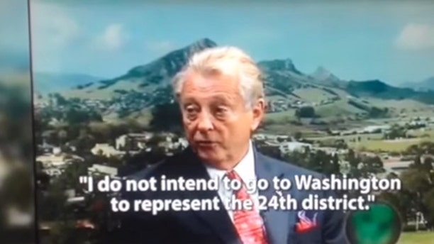Shown here is a screenshot of a campaign ad run against congressional candidate Chris Mitchum, and re-posted in a video by the Mitchum campaign.