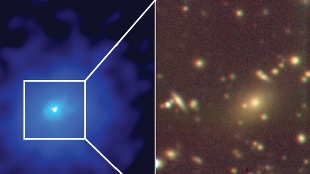An X-ray image (in blue) with a zoom in optical image (gold and brown) showing the central galaxy of a hidden cluster, which harbors a supermassive black hole.  (Image: Taweewat Somboonpanyakul)