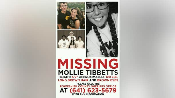 Tibbetts was last seen wearing gym shorts, a black sports bra and running shoes, according to the sheriff's office.