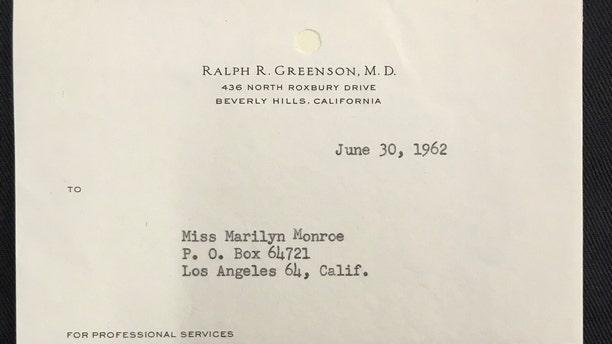 The typed receipt from the Marilyn Monroe's psychiatrist Dr. Ralph R. Greenson (Henry Aldridge & Son)