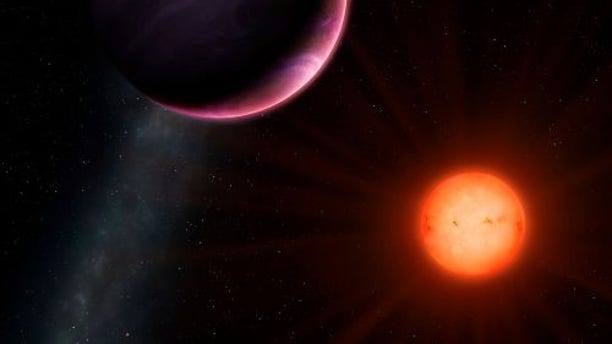 Artist's impression of planet NGTS-1b with its neighbouring sun (credit University of Warwick/Mark Garlick)