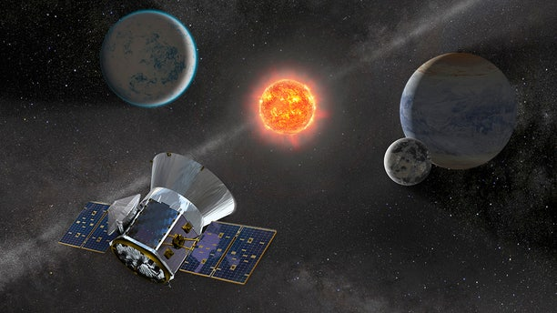 An artist's illustration of NASA's Transiting Exoplanet Survey Satellite, which will search for small planets around nearby stars.