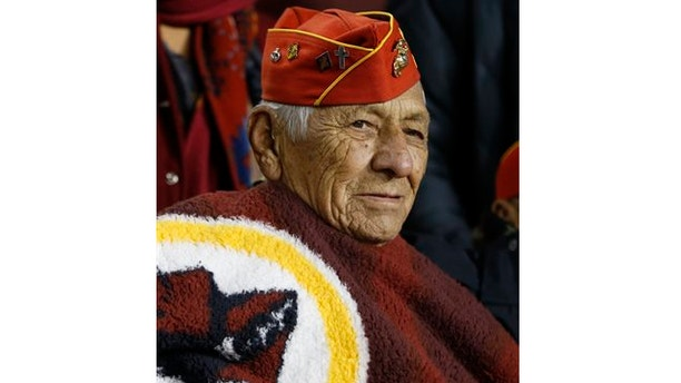 Nov. 25, 2013: Roy Hawthorne, a member of the famed Navajo Nation Code Talkers, watches a football game between the Washington Redskins and San Francisco 49ers in Landover, Md.