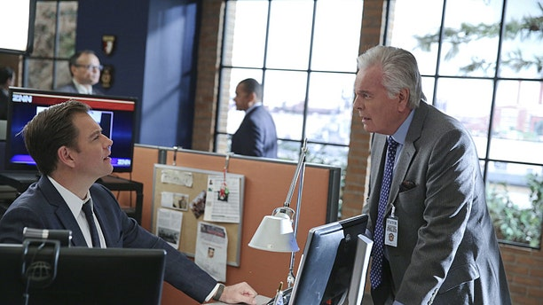 """Pictured left to right: Michael Weatherly and Robert Wagner on """"NCIS."""""""