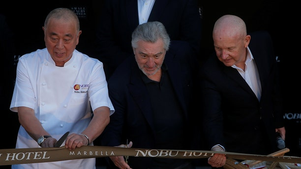 De Niro, seen above with Nobu co-owner Nobu Matsuhisa (left), made the statements during a celebration for the opening of Nobu's newest Spain location last week.