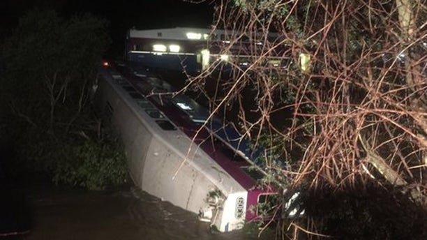 March 7, 2016: This image shows a derailed Altamont Corridor Express train in Sunol, Calif. (Alameda County Fire)