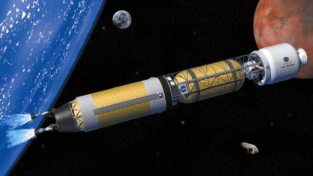 Nuclear thermal rockets like the one in this artistic rendering could halve the time needed for a Mars mission.