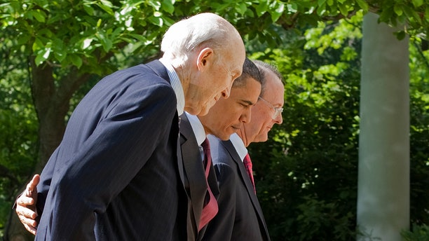 In this April 27, 2010, file photo President Barack Obama, flanked by National Commission on Fiscal Responsibility and Reform Co-Chairmen, former White House Chief of Staff Erskine Bowles, right, and former Wyoming Sen. Alan Simpson, walk towards the White House Oval Office after speaking about the importance of finding a bipartisan consensus on ways to improve America's long-term fiscal health and debt reduction. (AP)
