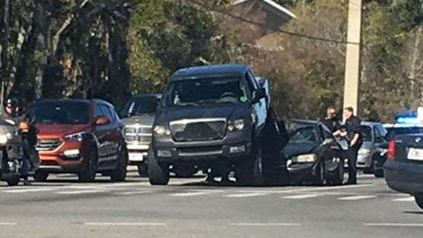 Cops at scene of a road rage incident in Ocala, Fla., Wednesday. (Ocala Police Department)