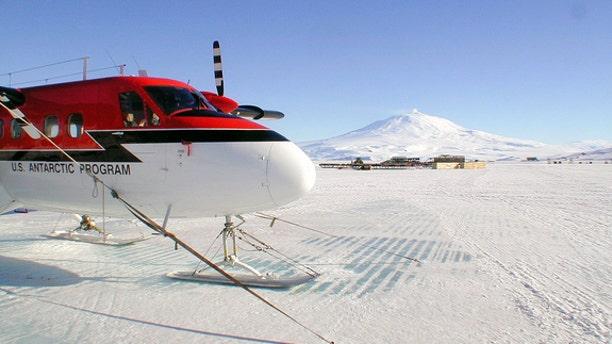 A U.S. Antarctic Program Twin Otter on the sea ice of McMurdo Sound.