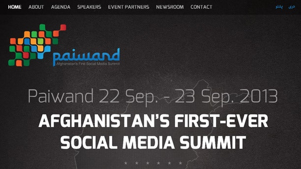 A screenshot of the website for Paiwand, Afghanistan's first ever social media summit.
