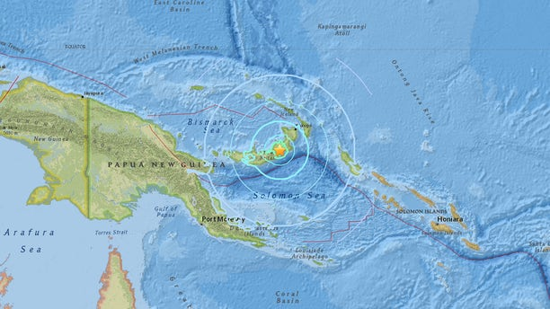 The location of a 6.6 magnitude earthquake in Papua New Guinea on Monday.