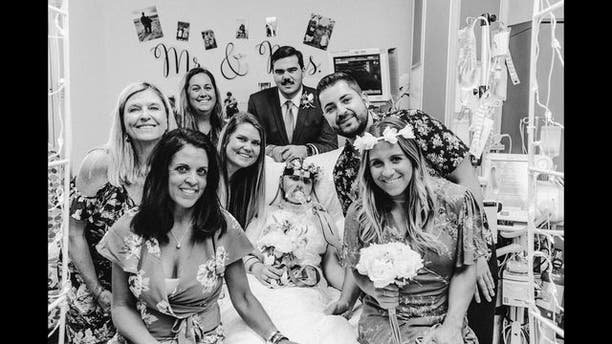 The pair married in front of family, friends and Marino's care team.