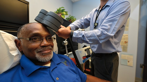 Percy Jones receives rTMS therapy to help treat his depression.