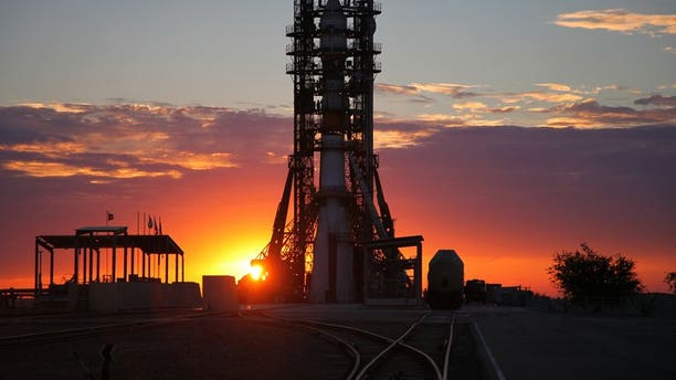 A Soyuz rocket on its launch pad at Baikonur cosmodrome on June 25 , 2013. An unmanned Russian Proton-M carrier rocket exploded on takeoff at Baikonur, in images broadcast live on national television.