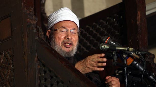 Egyptian Muslim scholar Sheikh Yusuf al-Qaradawi speaks in Cairo on December 28, 2012. Qaradawi on Saturday issued a religious decree, or fatwa, urging Egyptians to support overthrown Islamist president Mohamed Morsi who was toppled by the army on Wednesday.