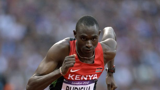 Kenya's David Rudisha competes in the men's 800m final at the London Olympic Games on August 9, 2012. Rudisha will miss next month's World Athletics Championships in Moscow, his coach says. Rudisha is the reigning World and Olympic 800m champion.