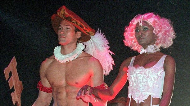 """This file picture taken on September 25, 1999 shows models presenting """"The Evolution of Underwear"""", a catwalk show of Joe Boxer underwear in Santa Monica, California. Canadian entrepreneur Nick Graham created the Joe Boxer underwear brand at his kitchen table in San Francisco in 1985, but he tells AFP that he is now starting to see a change in men's attitude towards fashion."""