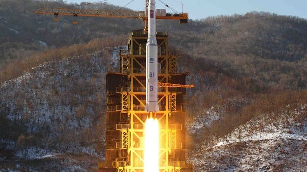 Illustration: North Korea's Unha-3 rocket, carrying the satellite Kwangmyongsong-3, in Pyongan province, Dece,ber 2012.