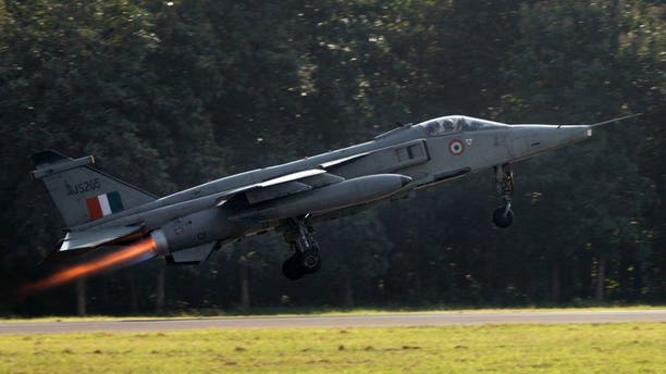 A file photo of a Jaguar fighter taking off for a practice flight.