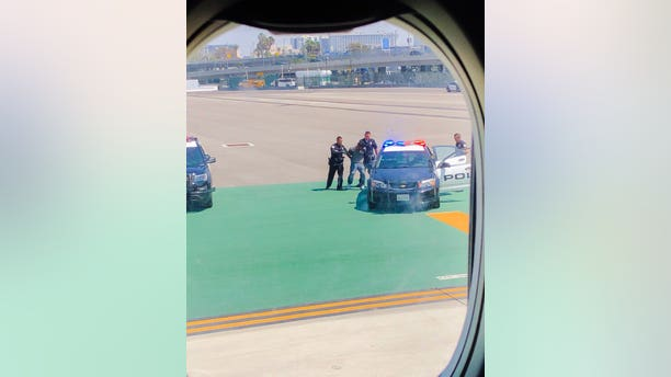 A man was taken into custody at Los Angeles International Airport after he jumped a fence, ran onto a runway and did pushups, airport police told Fox News.