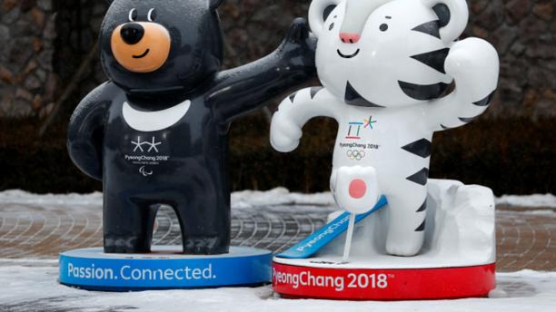 The 2018 Pyeongchang Winter Olympics mascot Soohorang (R) and Paralympics mascot Bandabi are pictured in Pyeongchang, South Korea, January 22, 2018.
