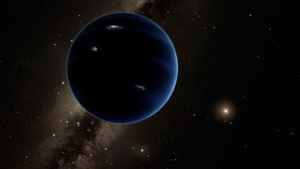 "Artist's illustration of ""Planet Nine,"" a hypothesized world about 10 times more massive than Earth that may orbit far beyond Pluto."