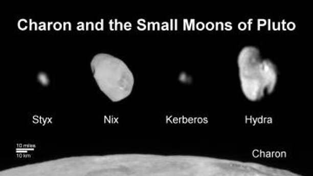 This composite image shows a sliver of Pluto's large moon, Charon, and all four of Pluto's small moons, as resolved by the Long Range Reconnaissance Imager (LORRI) on the New Horizons spacecraft.