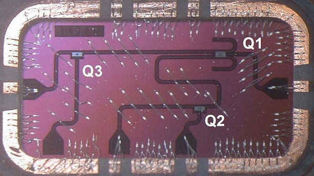 A silicon chip containing qubits, the basic information building blocks for IBM's quantum computer.