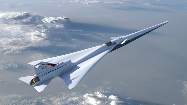 Illustration of NASA's Low-Boom Flight Demonstration aircraft as outlined during the project's preliminary design review in 2017.