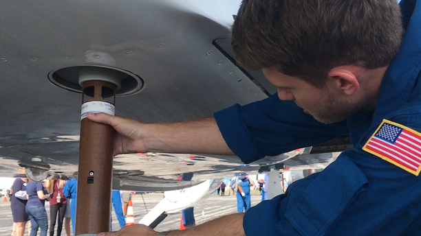 NOAA uses a high-altitude Gulfstream jet to launch up to 30 dropsondes, an expendable weather radar device about the size of the cardboard paper towel roll that falls into the ocean after recording weather data.