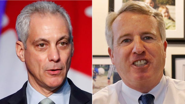 Chicago's Rahm Emanuel, left, was criticized by Chris Kennedy, who is running for the state's gubernatorial nomination.