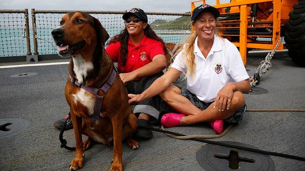 Tasha Fuiava, left, and Jennifer Appel were rescued by the Coast Guard.