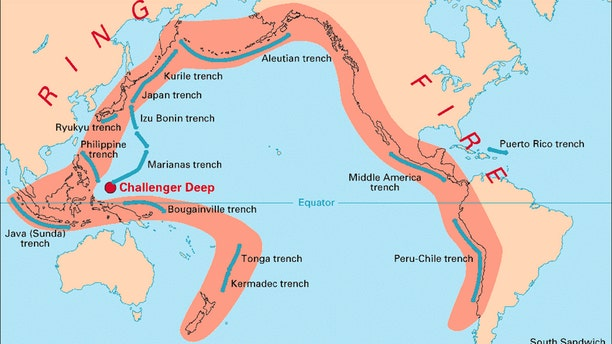 """A map showing the """"Ring of Fire,"""" where more than half of the world's active volcanoes above sea level encircle the Pacific Ocean."""