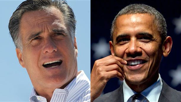Mitt Romney and President Obama are shown campaigning on June 26, 2012.