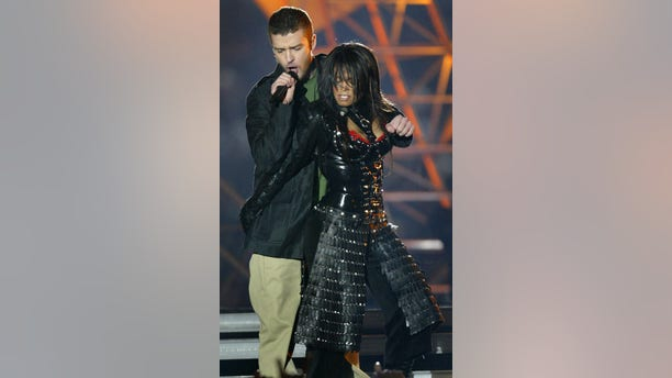 Janet Jackson and Justin Timberlake during the 2004 Super Bowl halftime show.