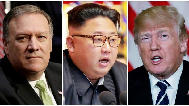 A combination photo shows Mike Pompeo, left, North Korean leader Kim Jong Un and President Trump. (Reuters)