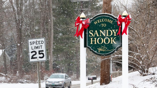 FILE -- A sign welcoming visitors to Sandy Hook in Newtown, Connecticut December 14, 2013.