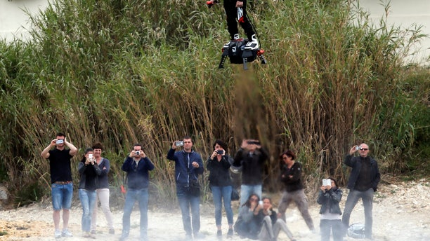 April 30, 2016: Pilot and jet-ski champion Franky Zapata breaks the Guiness World Records of the farthest flight by hoverboard with the IPU Flyboard Air after covering a distance of 7,389.76 ft with an average speed of 50-60km/h in Sausset les Pins near Marseille, France. (Reuters)