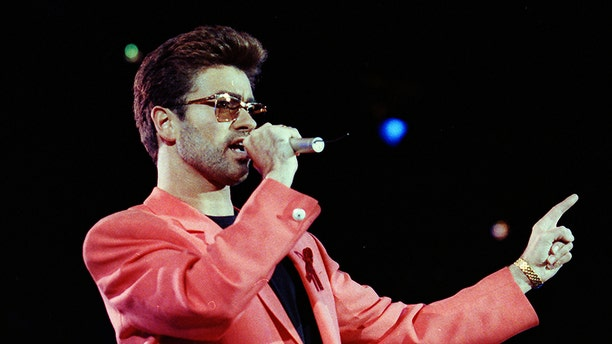 George Michael performs at the Freddie Mercury Tribute Concert for AIDS Awareness in London in 1992