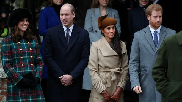 Kate, Duchess of Cambridge, Prince William, Duke of Cambridge, Meghan Markle and Prince Harry leave St Mary Magdalene's church after the Royal Family's Christmas Day service.