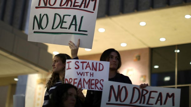 Pro-DREAM Act protesters march in Los Angeles this past January.