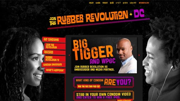 """The """"Rubber Revolution"""" campaign, which was launched earlier this month by the District of Columbia Department of Health, will target all D.C. residents for the next year and features a five-question condom quiz.  (RubberRevolutionDC.com)"""