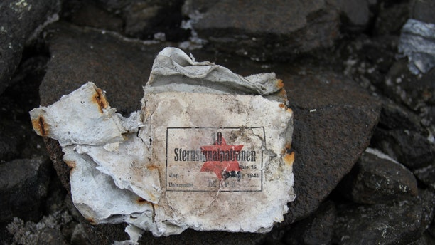 "Fragment of signal cartridge box <a href=""http://www.foxnews.com/science/2016/11/04/russian-scientists-unearth-remains-secret-nazi-arctic-base.html"" target=""_blank"">found</a> at the site (Yulia Petrova)."