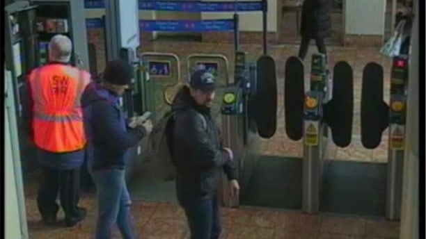 The two suspects are seen at the Salisbury train station on March 4, the day the Skripals were poisoned.