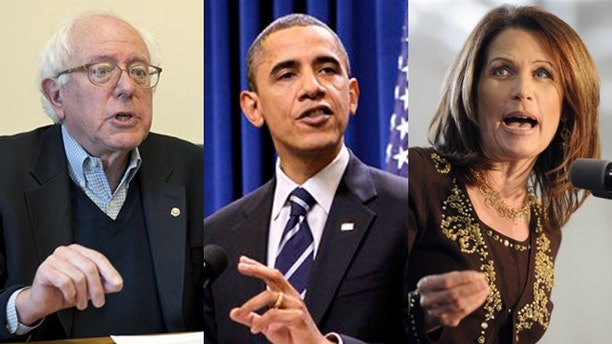 Shown here are Sen. Bernie Sanders, left; Rep. Michele Bachmann, right; and President Obama. (AP Photos)