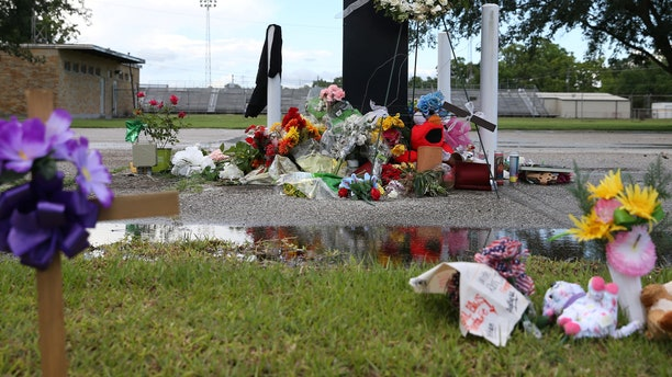 A makeshift memorial left in memory of the victims killed in a shooting at Santa Fe High School, is pictured in downtown Santa Fe, Texas, May 24, 2018.