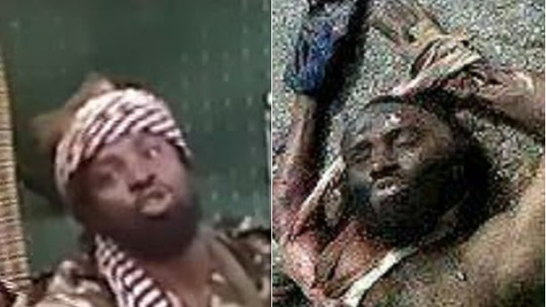 At right, a photo released by officials in Cameroon purports to show Boko Haram leader Abubakar Shekau, (l.), dead.