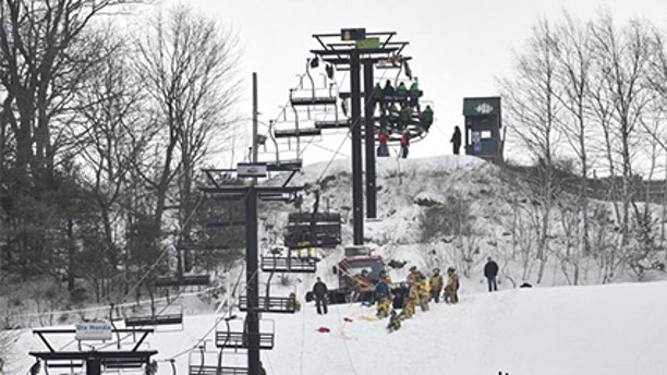 Authorities said five skiers suffered minor injuries when the chair lift at Tussey Moutain Ski Resort in Pennsylvania malfunctioned Saturday.